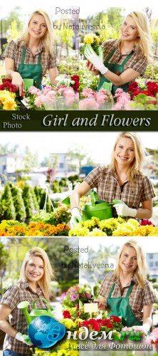 Девушка и цветы / Girl and flowers - Stock photo