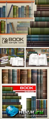 Книги на полках / Books on shelves - Stock photo