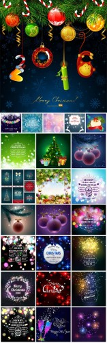 Merry Christmas, New Year vector, backgrounds, Santa Claus, Christmas tree, winter