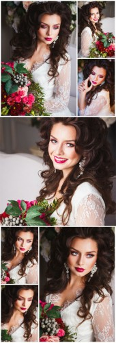 Charming bride with a bouquet of flowers - Stock photo