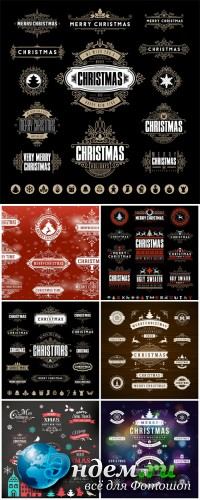 2016 Merry Christmas, labels, elements of vector