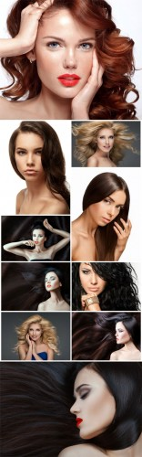 Women with beautiful hair, brunette, blonde - Stock photo