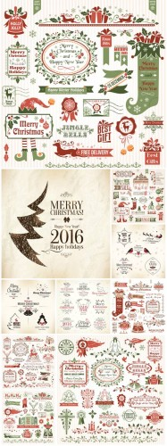 Christmas 2016, vector design elements