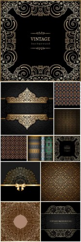 Vintage vector background with different patterns