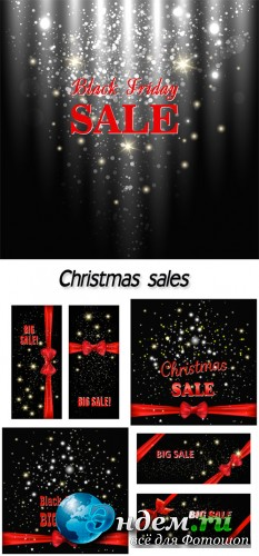 Christmas sales, backgrounds vector