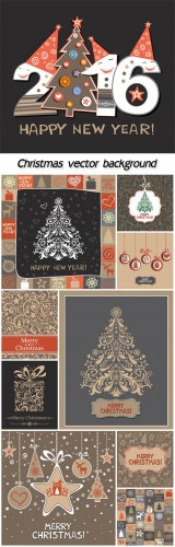 Christmas vector set in vintage style