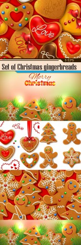 Set of Christmas gingerbreads with color glaze