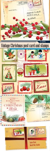 Vintage Christmas post card and stamps