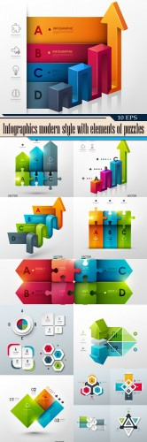 Infographics modern style with elements of puzzles