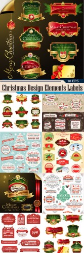 Collection of Christmas Design Elements Labels