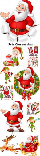 Santa Claus and elves, Christmas vector