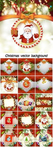 Christmas posters with gifts, Santa and snowman