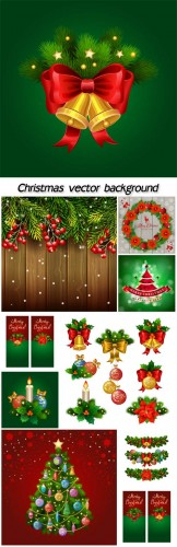 Christmas decorations, backgrounds vector