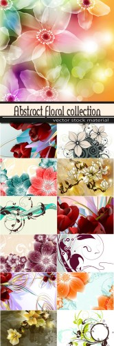 Abstract collection flower backgrounds