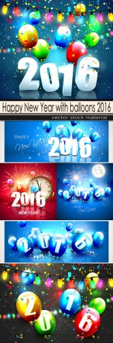 Happy New Year with balloons 2016