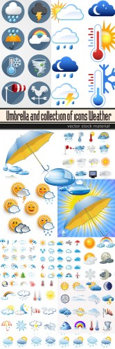 Umbrella and collection of icons Weather