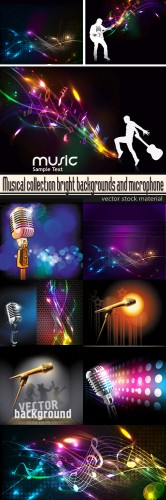 Musical collection bright backgrounds and microphone