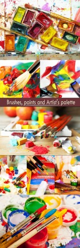 Brushes, paints and Artist's palette
