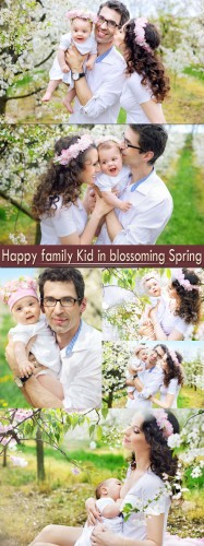 Happy family Kid in blossoming Spring