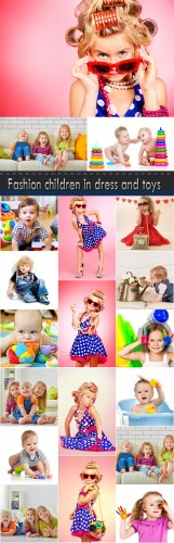 Fashion children in dress and toys
