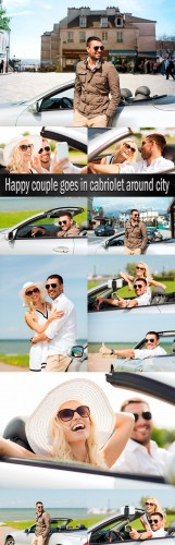 Happy couple goes in cabriolet around city