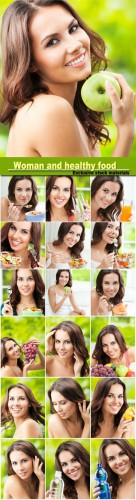 Beautiful woman and healthy food