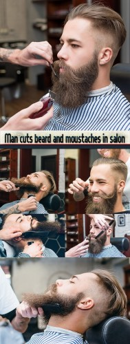 Man cuts beard and moustaches in salon