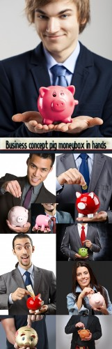 Business concept pig moneybox in hands