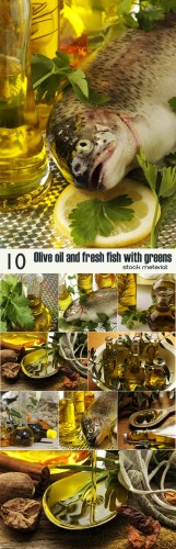 Olive oil and fresh fish with greens