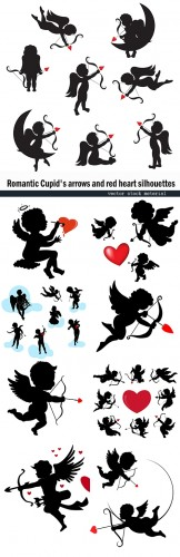 Romantic cupid and decorative flowers silhouettes