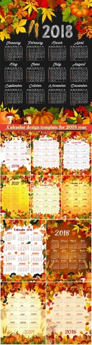 Vector autumn calendar design template for 2018 year # 8