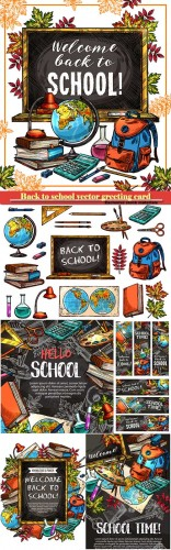 Back to school vector greeting card # 7