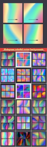 Hologram bright colorful vector backgrounds set