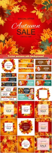 Vector illustration autumn sale background with falling autumn leaves