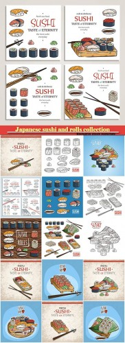 Japanese sushi and rolls collection, traditional fresh seafood, asia cuisine delicious