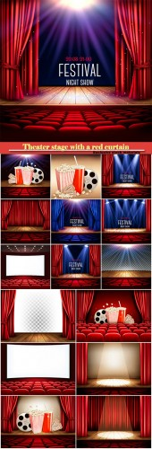 A theater stage with a red curtain and a spotlight
