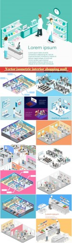 Vector isometric interior shopping mall, grocery, computer, household, equipment store