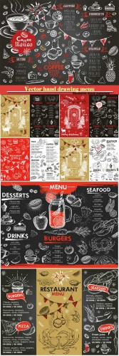 Vector hand drawing menu desserts, fast food, seafood, drinks