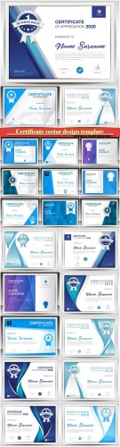 Certificate and vector diploma design template # 37