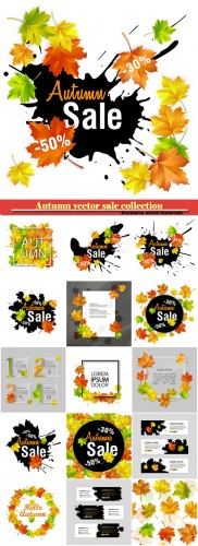 Autumn vector sale, fall sale design with autumn leaves