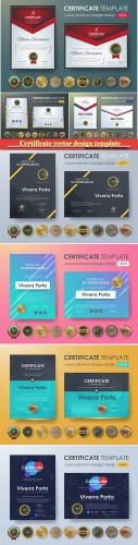 Certificate and vector diploma design template # 39