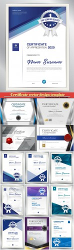 Certificate and vector diploma design template # 41