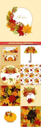 Autumn banner with leaves and  berries, vector colorful background for greeting card