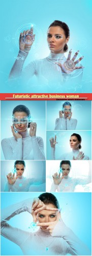 Image of a futuristic attractive business woman wearing virtual glasses working with a holographic hadt against a background of high technology