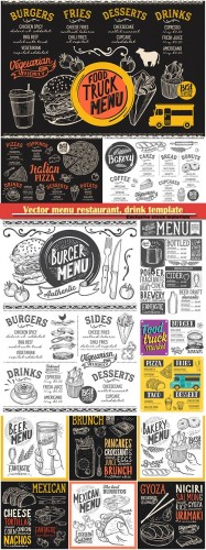 Vector menu restaurant, drink template, food illustrations