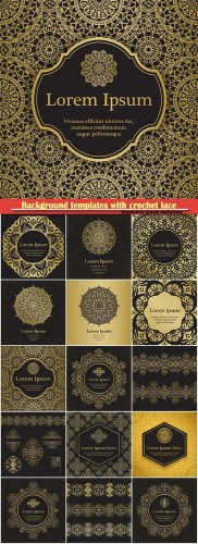 Background templates with crochet lace, gold damask ornament, mandala background