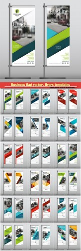 Business flag banner vector, flyers templates