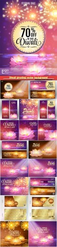 Diwali greeting vector background, lotus oil lamp