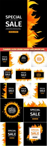 Template vector design banner with special sale, card for hot offer with frame fire graphic