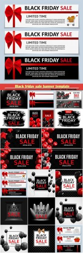 Black friday sale banner template vector design with balloons